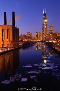 Chicago River And Willis Tower
