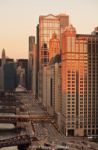 Wacker Drive Sunset Chicago