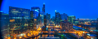 Chicago River Night Panorama